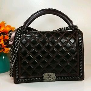 CHANEL Boy Large Flapbag Quilted Chain Burgundy
